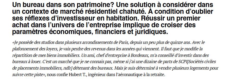 Le Figaro – Le Particulier – Investir dans un local de bureaux, une stratégie gagnante