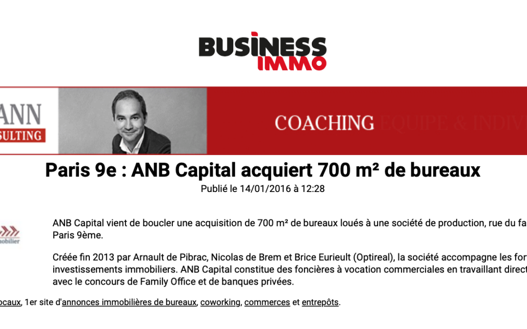 Business Immo – Paris 9e – ANB Capital acquiert 700 m² de bureaux